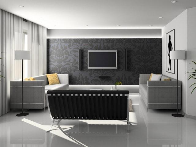 Stilrent och ljust vardagsrum